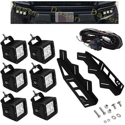 3. Dasen For Ford Raptor 2017-2019 6x 18W LED Cube Light Pod w/Front Hidden Bumper Fog light Fog lamp Mounting Brackets