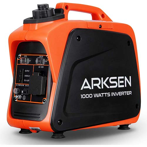 6. ARKSEN 1000W Super Quiet Portable Gas-Powered Inverter Generator
