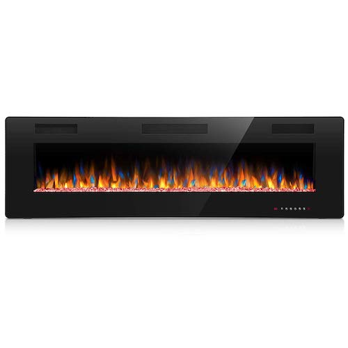 2. Joy Pebble 60 Inches Recessed Mounted Electric Fireplace with Remote Control - 1500/750W Heater - Black