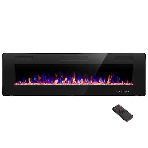 5. R.W. FLAME 60 inch Recessed and Wall Mounted Electric Fireplace