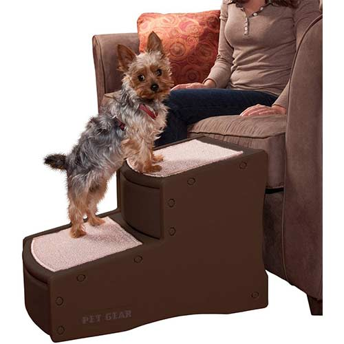 4. Pet Gear Easy Step II Pet Stairs, 2 Step for Cats/Dogs up to 150 Pounds, Portable, Removable Washable Carpet Tread