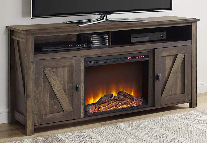 2. Ameriwood Home Farmington Electric Fireplace TV Console for TVs up to 60