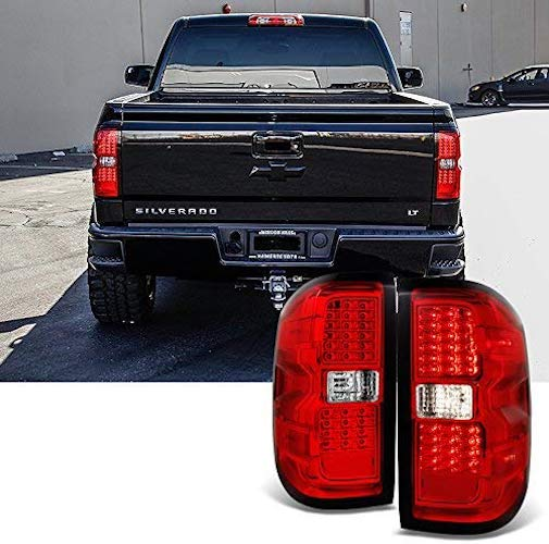 10. For 2014 2015-2018 Chevy Silverado | GMC Sierra Left + Right Red Replacement LED Tail Lights Tail Lamps Pair