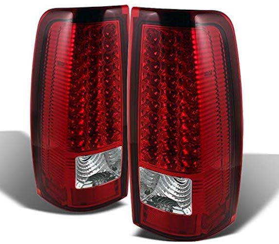5. For 03-06 Chevy Silverado 04-06 GMC Sierra Pickup Truck Red Clear LED Tail Lights Brake Lamps Pair Set