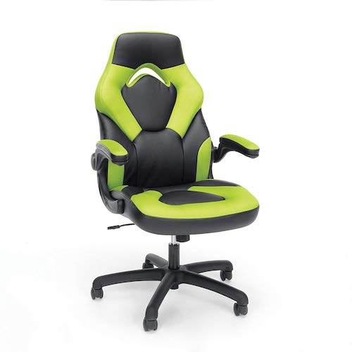 2. OFM Essentials Collection Racing Style Bonded Leather Gaming Chair, in Green (ESS-3085-GRN)
