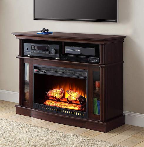 6. Cherry Finish Better Homes and Gardens Remote Control Ashwood Road Electric Fireplace Media Console For TV's Up to 45