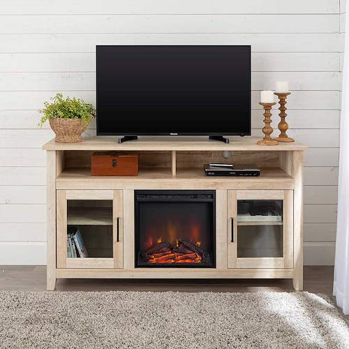 1. WE Furniture Tall Rustic Wood Fireplace Stand for TV's up to 64
