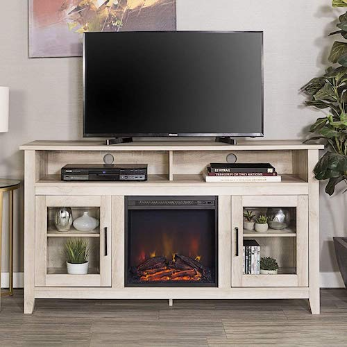 8. New 58 Inch Wide Highboy Fireplace Television Stand in White Oak Finish