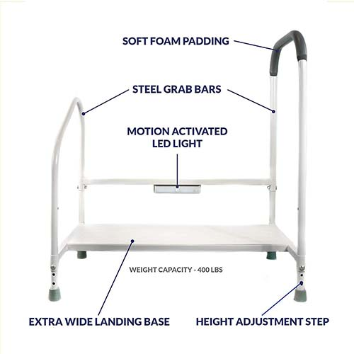 1. Step2Bed Bed Rails for Elderly with Adjustable Height Bed Step Stool & LED Light for Fall Prevention