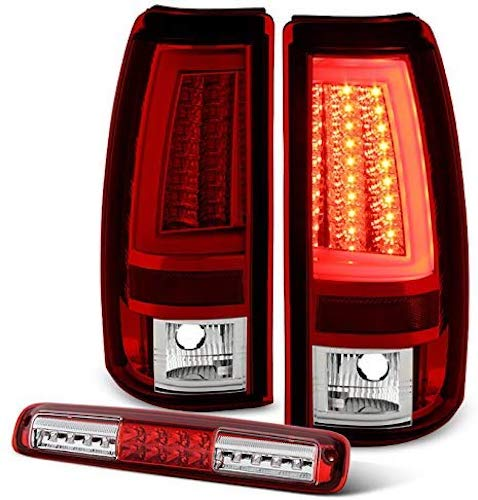 8. For 2003-2007 Chevy Silverado GMC Sierra Red LED Light Tube Tail Brake Lights + 3rd High Mount Cargo Lamp