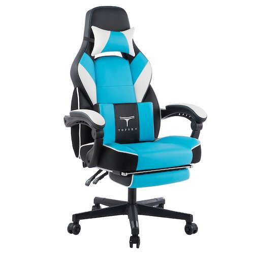 9. TOPSKY High Back Racing Style PU Leather Executive Computer Gaming Office Chair Ergonomic Reclining Design with Lumbar Cushion Footrest and Headrest