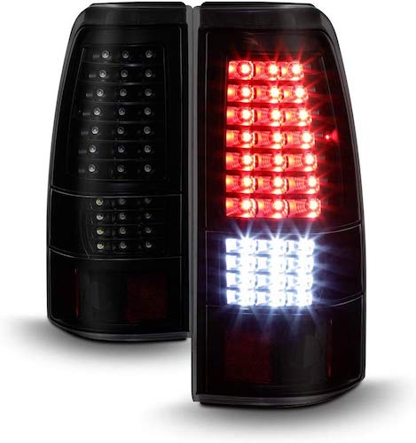 2. ACANII - For Black Smoke 1999-2006 GMC Sierra 1999-2002 Chevy Silverado Full LED Tail Lights