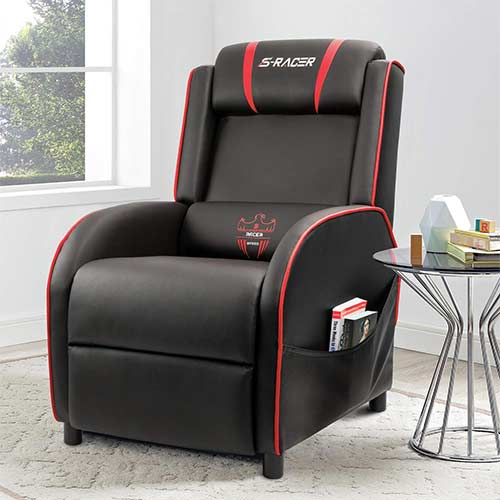 1. Homall Gaming Recliner Chair Single Living Room Sofa Recliner PU Leather Recliner Seat