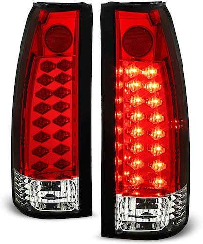 7. ACANII - For 1988-1998 Chevy Silverado GMC Sierra Suburban Tahoe Red Clear Lumileds LED Tail Lights Lamps Left+Right