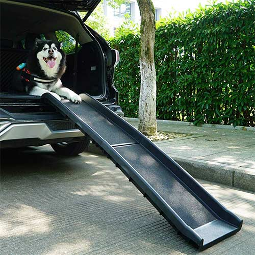 7. Sandinrayli Folding Pet Dog Ramp Car Ladder Stairs
