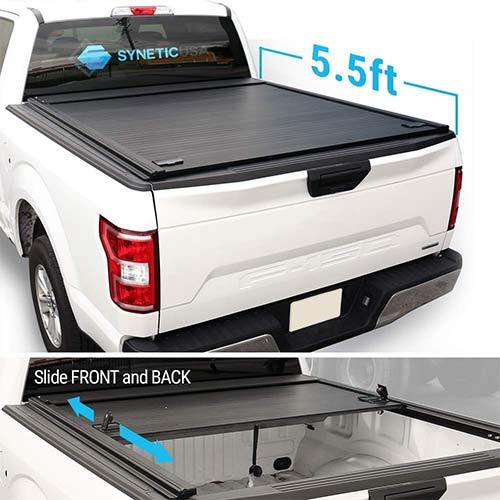 10. Syneticusa Aluminum Roll-Up Retractable Low Profile Hard Tonneau Cover Cargo