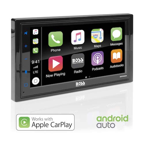 9. BOSS Audio BVCP9685A Apple Carplay Android Auto Car Multimedia Player - Double Din Car Stereo, 6.75 Inch LCD Touchscreen Monitor, Bluetooth, MP3 Player, USB Port, A/V Input, Am/FM Car Radio