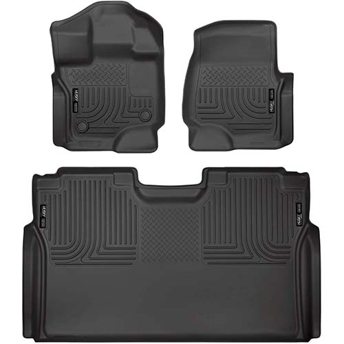 1. Husky Liners Fits 2015-19 Ford F-150 SuperCrew Weatherbeater Front & 2nd Seat Floor Mats