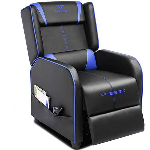 2. Vitesse Gaming Recliner Chair Racing Style Single Ergonomic Lounge Sofa Modern PU Leather Reclining Home Theater Seat