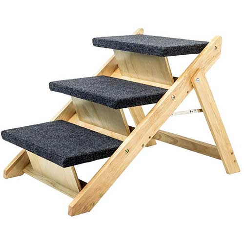 2. MEWANG Wooden Pet Stairs Portable 3 Levels Dog Steps