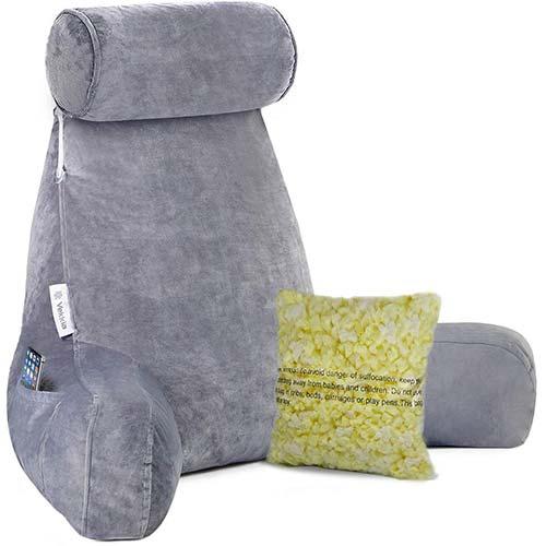 7. Vekkia Premium Soft Reading & Bed Rest Pillow