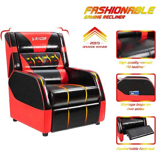 7. Gaming Recliner Chair Living Room Sofa Single Recliner PU Leather Recliner Seat