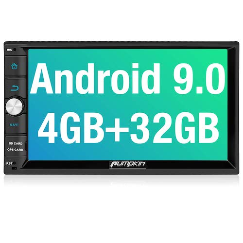 8. PUMPKIN Android 9.0 Car Stereo Double Din with 4GB, GPS and WiFi, Android Auto, Support Fastboot, Backup Camera, USB SD, 7 Inch Touch Screen