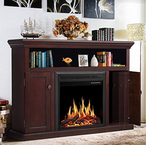9. JAMFLY Electric Fireplace Mantel, Wood Package Firebox, Freestanding Electric Fireplace Heater, TV Stand, Adjustable Led Flame, Remote Control, 750W-1500W, Espresso Brown