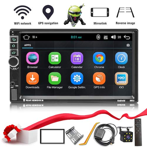5. Yakalla Double Din Android 8.1 Car Stereo in-Dash GPS Navigation Support Compatible with Bluetooth 4.0, WiFi/3G, Mirror Link, Car Radio Audio Vehicle Head Unit with Free Rear Camera and Car Remote