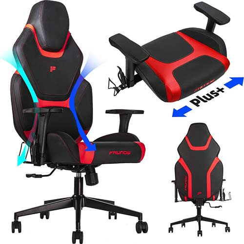 5. FAUNOW High Back PU Leather Adjustable Swivel Rolling Massage Chair E-Sports Racing Style Reclining Office Chairs