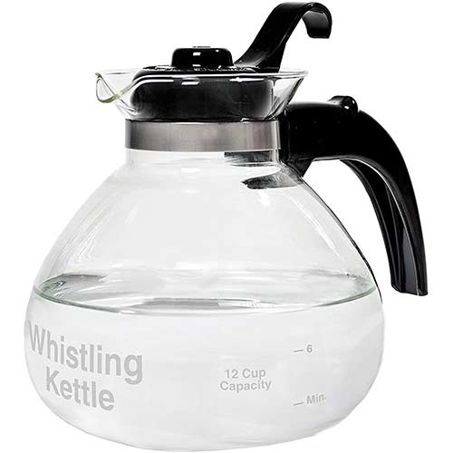 5. CAFÉ BREW COLLECTION WK112 Glass Cafe Brew 12 Cup Stovetop Whistling Kettle