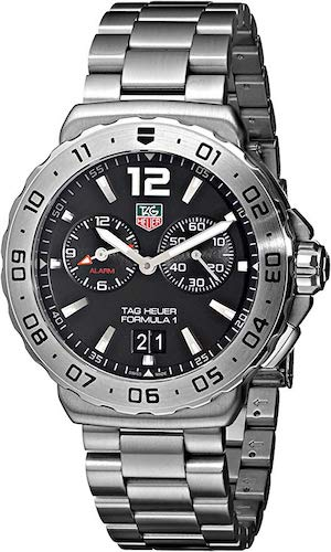 6. TAG Heuer Men's WAU111A.BA0858 Formula 1 Black Dial Grande Date Alarm Watch