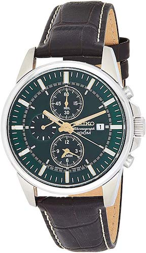 1. Seiko #SNAF09 Men's Leather Band Green Dial Alarm Chronograph Watch