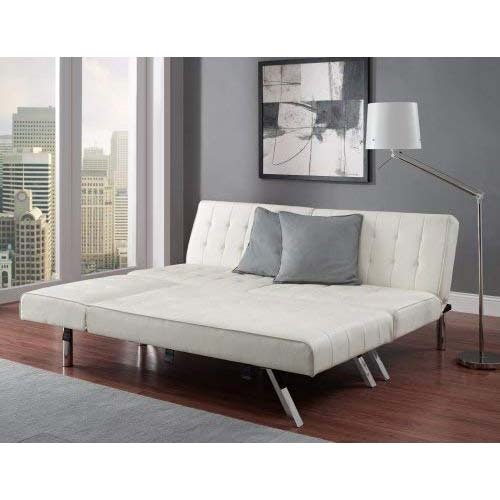 5. Modern Sofa Bed Sleeper Faux Leather Convertible Sofa Set Couch Bed Sleeper Chaise Lounge Furniture Vanilla White