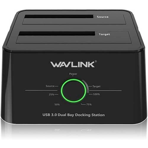 8. WAVLINK USB 3.0 to SATA I/II/III Dual-Bay External Hard Drive Docking Station