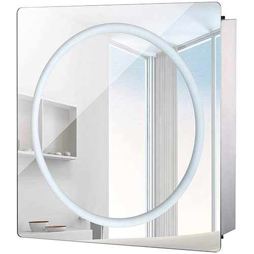 "5. HomCom LED Ring Sliding Bathroom Mirror/Medicine Wall Cabinet (28"" x 24"")"