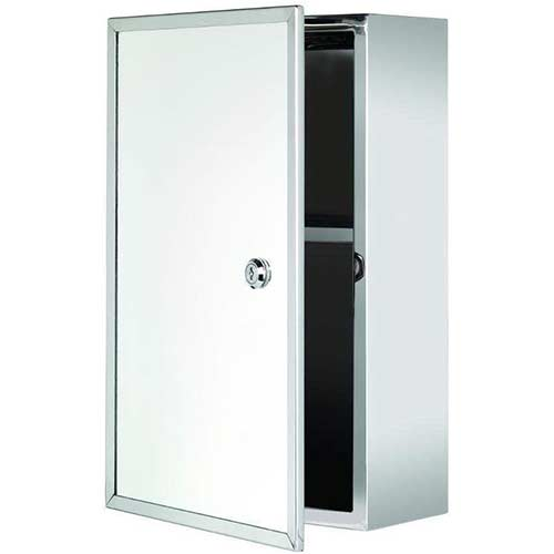 6. Croydex WC870105AZ Tay Stainless Steel Oval Medicine Cabinet