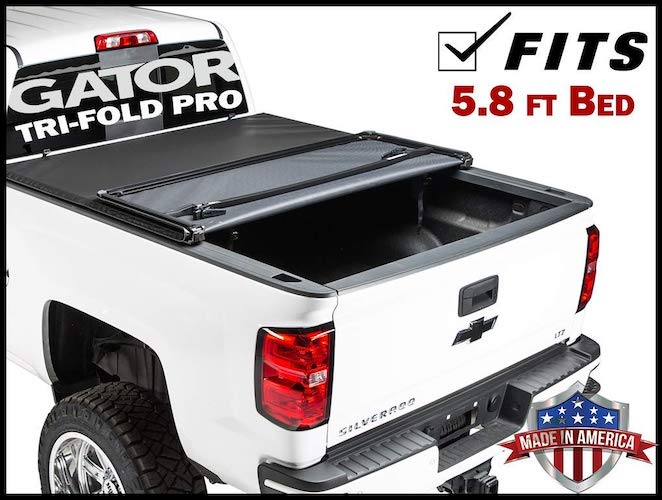 8. Gator Pro Tri-Fold (fits) 2014-2018 Chevy Silverado GMC Sierra 5.8 FT Bed Only Soft Folding Tonneau Truck Bed Cover