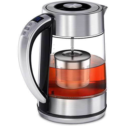 7. Electric Tea Kettle, FEBOTE 2 in 1 Glass Kettle Teapot