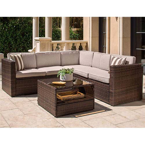7. SOLAURA Outdoor 4-Piece (5 Seats) Sofa Sectional Set All Weather Brown Wicker