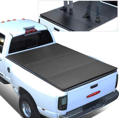 2. For 07-14 Chevy Silverado/GMC Sierra 5.8 Ft Short Bed FRP Hard Solid Tri-Fold Tonneau Cover
