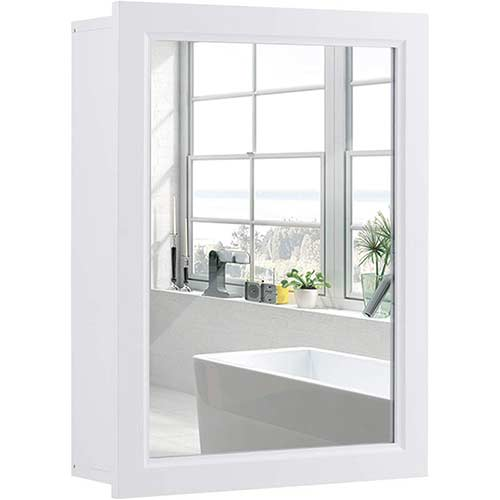 8. Tangkula Mirrored Bathroom Cabinet, Wall Mount Storage Organizer, Medicine Cabinet with Single Doors