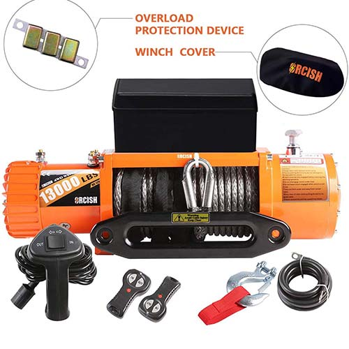 10. ORCISH 13000lb IP67 Waterproof Winch Synthetic Rope Electric Jeep Truck Winches