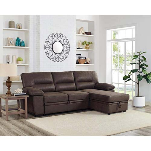 6. Lilola Home Kipling Brown Microfiber Reversible Sleeper Sectional Sofa Storage Chaise