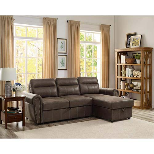 4. Lilola Home Ashton Saddle Brown Microfiber Reversible Sleeper Sectional Sofa Storage Chaise