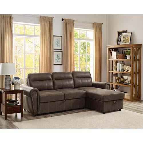 4. Lilola Home Ashton Saddle Brown Microfiber Reversible Sleeper Sectional Sofa Storage Chaise