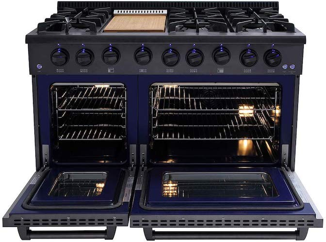 8. Thor Kitchen 48 Inch Gas Range 6 Burners Cooktop 6.7 cu.ft Oven Black Steel - HRG4808-BS