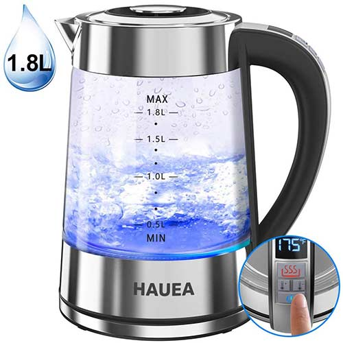 10. HAUEA 1500W Electric Glass Kettle 1.8L BPA-Free Electric Tea Kettle