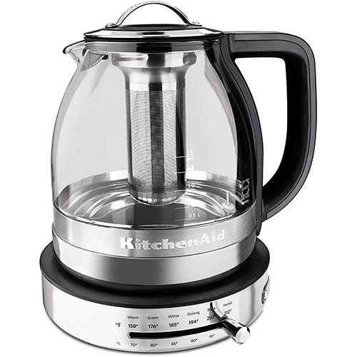 1. KitchenAid 605516-KEK1322SS Electric Glass Tea Kettle