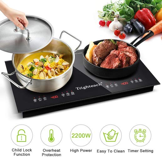 9. Trighteach Portable Induction Cooktop ( Double Countertop Burner) 2200W Electric Stove